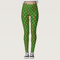 Red and Green Tulip Flower Pattern Leggings
