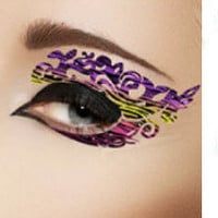 1 Pair of Temporary Tattoo Makeup for Eyes Eyelids Purple Color Strip for Summer Spring Clubbing Party Prom