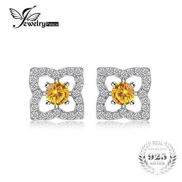 JewelryPalace Lotus Flower 0.7ct Round Orange Created Sapphire Stud Earrings Charms 925 Sterling Silver Trendy Jewelry For Women
