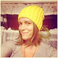 Yellow Beanie Gold Sunshine Yellow Crochet Hat Perfect Fit Slouchy