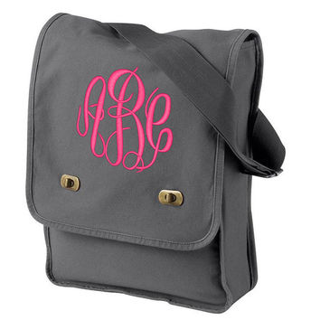 Monogram Smoke Grey Colored Messenger Canvas Cross-body bag Purse  Font shown MASTER CIRCLE in bright pink