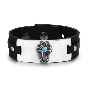 Ancient Celtic Viking Cross Protection Powers Amulet Simulated Turquoise Leather Bracelet