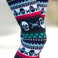 Multicolor Skull Leggings