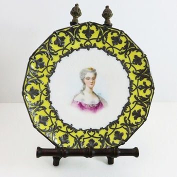 Vintage lead-framed porcelain plate with painted lady in pink dress signed by Bizet - white yellow plate with leaded border