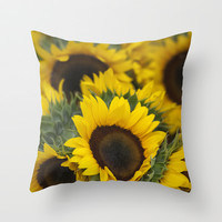 Sunflowers Throw Pillow by Mary Kilbreath