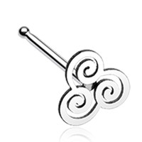 Trinity Swirl Nose Stud Ring - 20 G - Sold as a Pair