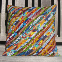 African Wax Print Throw Pillow Cover 18 x 18 - Detailed Decorative Design