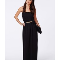 Missguided - Mayaka Black Strappy Crepe Maxi Dress