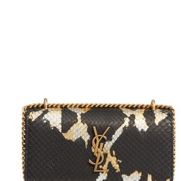 Saint Laurent Mini Sunset Painted Genuine Python Wallet on a Chain | Nordstrom