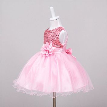 Summer Baby Dresses Girls Sequin Flower Bowknot Birthday Wedding Party Tutu Dress Girl