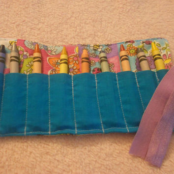 Purple butterfly crayon roll, colorful crayon roll, 9 crayon roll
