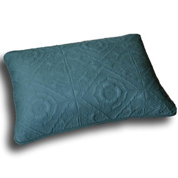 "DaDa Bedding Elegant Floral Earthy Forest Green Quilted King Pillow Sham - 20"" x 36"" (JHW854)"