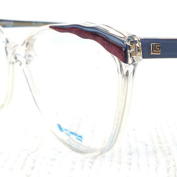vintage 70s cat eye eyeglasses guy laroche acetate oversize frames glasses eyewear crystal clear designer layered blue purple burgundy 202