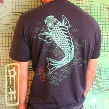 Japanese Chinese Koi Art fish vintage tattoo navy Mens by Ahpeele