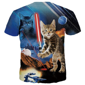 New Fashion Men/Women 3d T-shirt Print Lovely Cat Warrior Wars Quick Dry Tees Summer Tops Tshirts