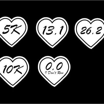 Marathon decal heart car decals vehicle auto window decal custom vinyl sticker 5K 10K 13.1 26.2 0.0 marathon run