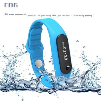 New E06 Smart Watch Fitness tracker Bluetooth 4.0 Smartwatch fit bit flex Sports Watch for ios android better than mi band