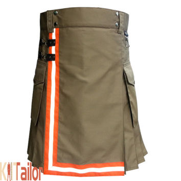 Khaki Utility Work Kilt For Firemen Custom Made