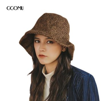 dropshippin Retro style Bucket hat for Women Men solid color fedoras hat Autumn winter casual warm hat Simple black caps