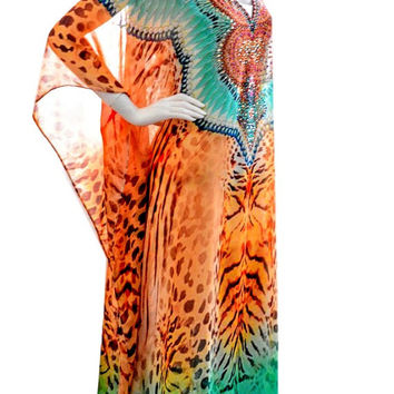 kaftan, plus size and regular size dress, kaftan caftan dress beach kaftan leopard print maxi free size dress with teal neckline