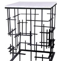 Matrix Side Table Iron Marble