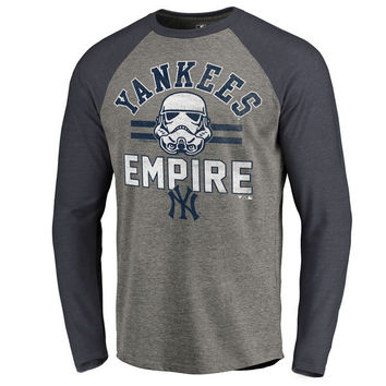 New York Yankees Fanatics Branded MLB Star Wars Empire Raglan Long Sleeve T-Shirt – Heather Gray