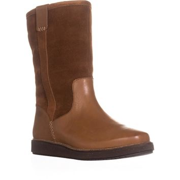 Clarks Glick Elmfield Mid Calf Pull On Wool Lined Winter Boots, Tan Combi, 11 US / 42.5 EU