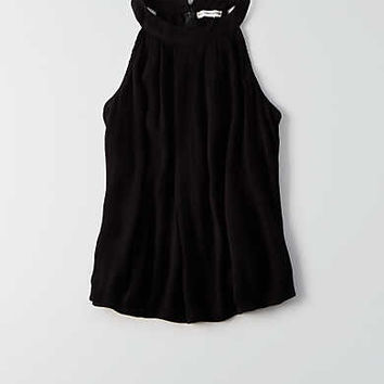 AEO Hi-Neck Zip Back Tank , True Black