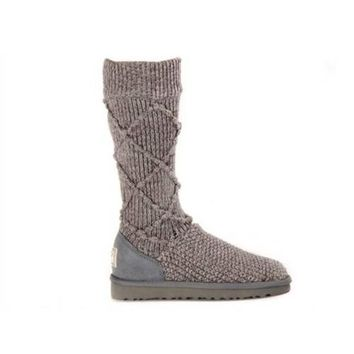 Black Friday Uggs Boots Knit Classic Argyle 5879 Grey For Women 95 33