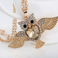 Gold Crystal Owl Necklace
