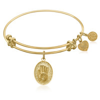 Expandable Bangle in Yellow Tone Brass with Hand Of Fatima Good Luck Symbol