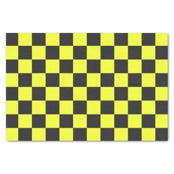 Yellow and Black Checkerboard Pattern Tissue Paper