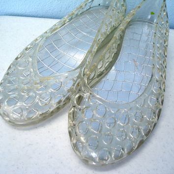 Vintage 1980s Jelly Shoes / Clear Jelly Slip On Shoes / 8