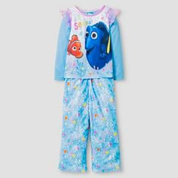 Toddler Girls' Finding Dory Long Sleeve 2-Piece Pajama Set Blue : Target