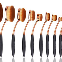 Party Queen Beauty Amazing  New 10Pcs Elite Oval Tooth Design Makeup Brushes Set For Applying Cosmetic Products