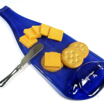 Housewarming Gift, Cobalt Blue Melted Wine Bottle Cheese Tray, Foodie Friend Gift