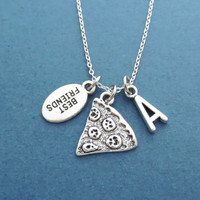 Personalized, Letter, Initial, Pizza, BEST FRIENDS, BFF, Necklace, Cute, Customized, Letter, Birthday, Friendship, Gfit, Accessory, Jewelry