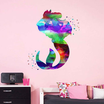 kcik2001 Full Color Wall decal Watercolor Character Disney Disney Princesses Princess Ariel Sticker Disney children's room