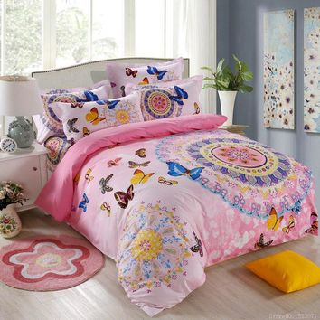 bohemian boho style pink butterfly bedding set girls blue purple butterfly cartoon cat print giraffe duvet cover bed linen