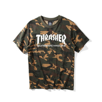 Couple Pullover Short Sleeve Tops Camo