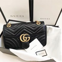 Gucci Women Shopping Leather Metal Chain GG Letter Buckle Crossbody Satchel Shoulder Bag Black