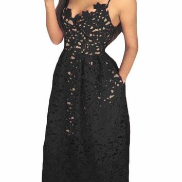 a51ff0181c0f Black Lace Hollow Out Nude Illusion Party Dress