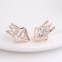 Crowned Diamond Rhinestone Earrings