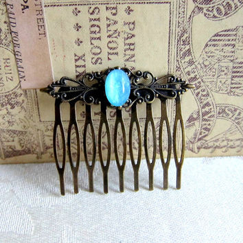 Blue Wedding Comb Turquoise Hair Comb Aqua Blue Mint Head Piece Bridesmaid Gift Bridal Comb Vintage Style Antique Brass LOTR Arwen Glow