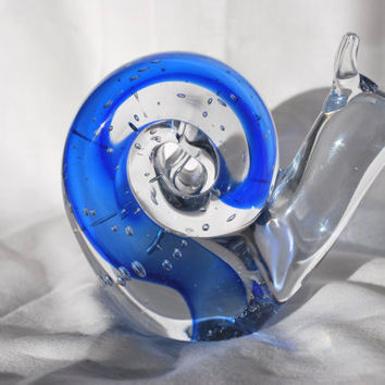 Blown Glass Paperweight Blue Snail , Collectible Bubble Glass Figurine