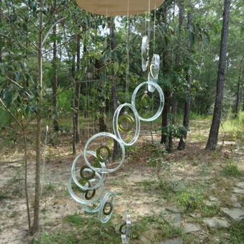 RECYCLING GLASS BOTTLES into winchimes, glass windchimes, garden decor, eco friendly and green, wind chime