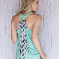 Mint Tank with Heart Bow Back Black and White Heart Bow Scarf on Slub Mint Tank Top Hi Low Tank with Valentine's Heart Bow SIZE SMALL