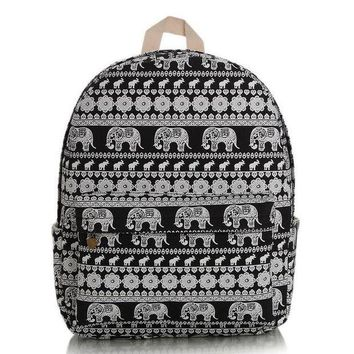 ONETOW Day-First? Cute Elephant Canvas Lightweight College Backpack
