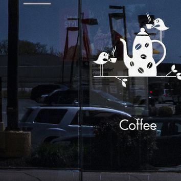 Window Sign and Wall Stickers Vinyl Decal Coffee Good Morning Cup And Birds For Kitchen Unique Gift (z1790w)