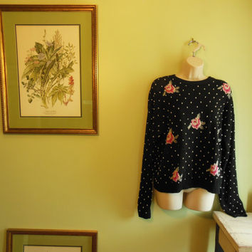 Vintage 1980's fabulous black, polka dot, floral, shabby chic//grunge//boho//hipster  knit sweater